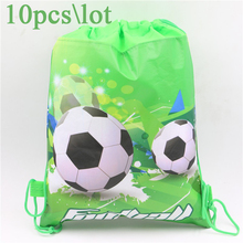 10pcs\lot Baby Shower Soccer Cartoon Non-Woven Fabric Drawstring Bags Football Backpack Birthday Party Decoration Kids Supplies