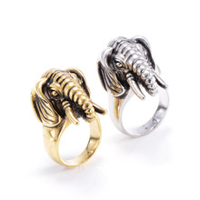 Titanium steel rings Men's elephant animal protection necessary goddess jewelry stainless steel ring influx of people at night