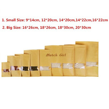 100pcs/lot-9size  Zipper top Flat pouch Kraft paper bag with clear window for dried food nuts candy packaging Party Gift bags