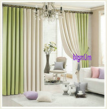 Summer Style Linen Curtains For Living Room Blackout Curtain White Red Beige Blue Grey Green Solid Drapes Patchwork Window trim(China)