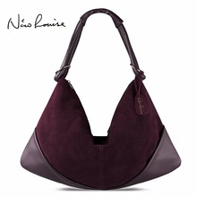 Large Slight Women Hobo Real Suede Leather Shoulder Bag Fashion Big Casual Leisure Shopping Sac A Main Femme De Marque Bolsa(China)