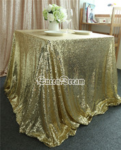 Square 90''x90'' Light Gold Sequin Tablecloth Linens Table Cloths for Wedding Decoration