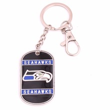 Sport Identification Jewelry military dog tag style Seattle Seahawks hand applied enamel Football team Logo charms key chains