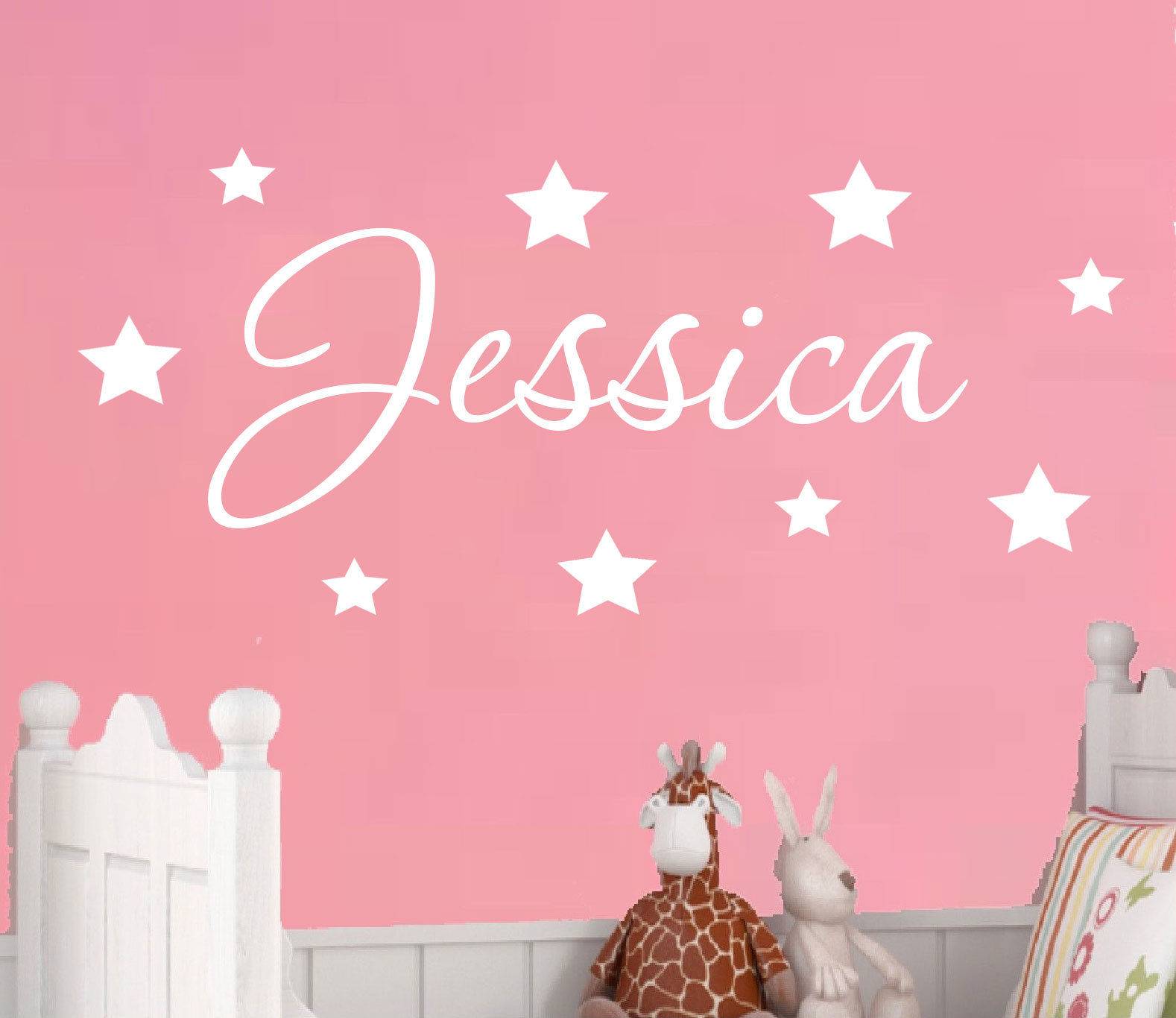 D198 Personalised Name Wall Sticker Decal Door Boys Girls Childrens Nursery  W/ Stars(China