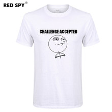 RED SPY Challenge Accepted Print Shirt Casual T-shirt Funny T shirts 100% Cotton T shirt Men Women Letters and express Tees Tops