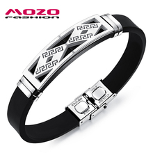 MOZO FASHION Men Bracelet Silicone Rubber Wristband Men Jewelry Accessories Stainless Steel Great Wall Pattern Bracelets MPH1093(China)