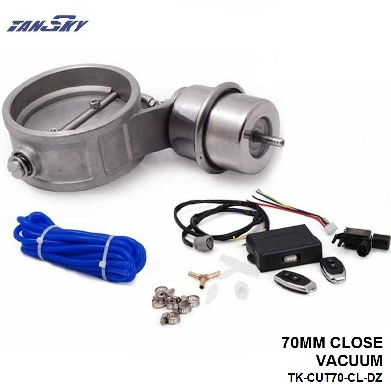 TANSKY -Exhaust Control Valve Set With Vacuum Actuator CUTOUT 70mm Pipe CLOSE STYLE W/Wireless Remote Controller TK-CUT70-CL-DZ