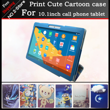 Fashion Cute Cartoon Stand Protector Cover Case For 10.1 inch Octa core call phone tablet pc , Colorful pattern have in stock