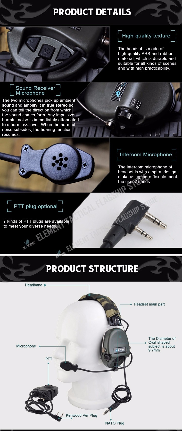 Z-tactical Anti Noise Z-TAC Sordin Headset Tactical Earphones Z111 DE With Tactical zPeltorPTT Military Standard Version Z112
