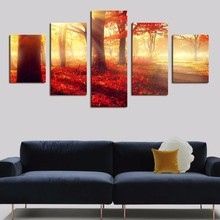 5 Panels Red Deciduous Forest Posters HD Printed Painting Canvas Warm Artistic Woods Living Room Decoration Wall Art Pictures