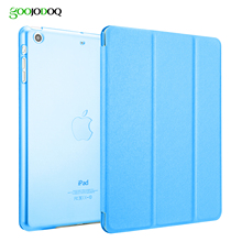 Slim Smart Case for iPad Mini 1 2 3 4 PU Leather Smart Cover Tri-Fold Stand for Apple iPad mini 4 Case Transparent PC Hard Back