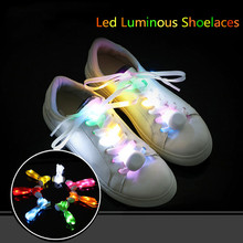 110cm Length Led Luminous Shoelaces 2017 Women Shoeslace Accessories for Shoes Hip-hop Skating Yellow/Blue/Pink Free Shipping