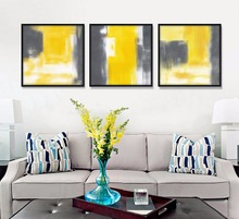 Modern Abstract Watercolor Painting Yellow and Gray Art Print Poster Canvas Painting Wall Pictures for Living Room Home Decor