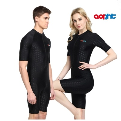 Professional Women One Piece SharkSkin Nylon Athletic TrainingRacing Swimsuit Men Knee Slimming Sport Triathlon Competition Suit<br>