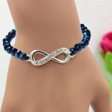 Fashion Bracelet Bangle Single Chain 8 Characters Beads Crystal Wristband Bracelet For Women Crystal Jewelry(China)