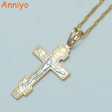 Anniyo Two Tone Gold Color Orthodox Christianity Church Eternal Cross Pendant Necklace Jewelry Russia/Greece/Ukraine #011004(China)