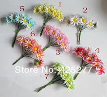 Wedding decoration 100pcs seven colors Mulberry Flower Bouquet/wire stem/wedding flower colors please choose 004012008(China)