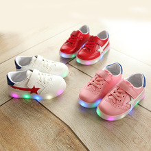 New 2017 European stars girls boys shoes LED lighting shining children shoes casual cool glowing baby kids sneakers(China)