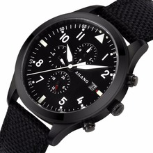 Black cloth strap 2017 high quality mechanical watch brand watch night light multi-function automatic military pilot waterproof(China)