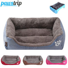 S-3XL 9 Colors Paw Pet Sofa Dog Beds Waterproof Bottom Soft Fleece Warm Cat Bed House Petshop cama perro(China)