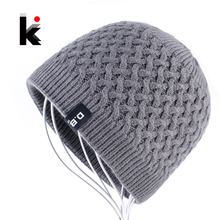 Men's Skullies Hat Beanies Winter Bonnet Knitted Wool Hat Add Velvet thick Caps Men Outdoor Casual Warm Knitting Gorros Homens(China)