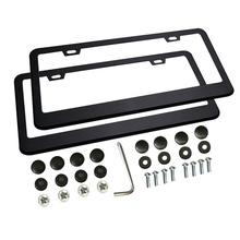 Car License Plate Frames 2 PCS With Bolts Washer Screw Caps For US Standard Wide Metal Stainless Steel 2 Holes