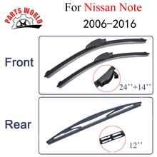 Partsworld Rubber Front And Rear Wiper Blades For Nissan Note 2006-2016 Windscreen Wipers Car Accessories Window Brushes(China)