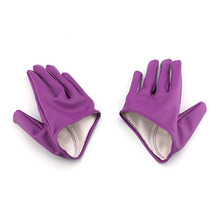 High Quality Woman Half Palm Gloves Mittens Tight Gloves Imitation artificial leather Five Finger Solid Color Mittens A1(China)