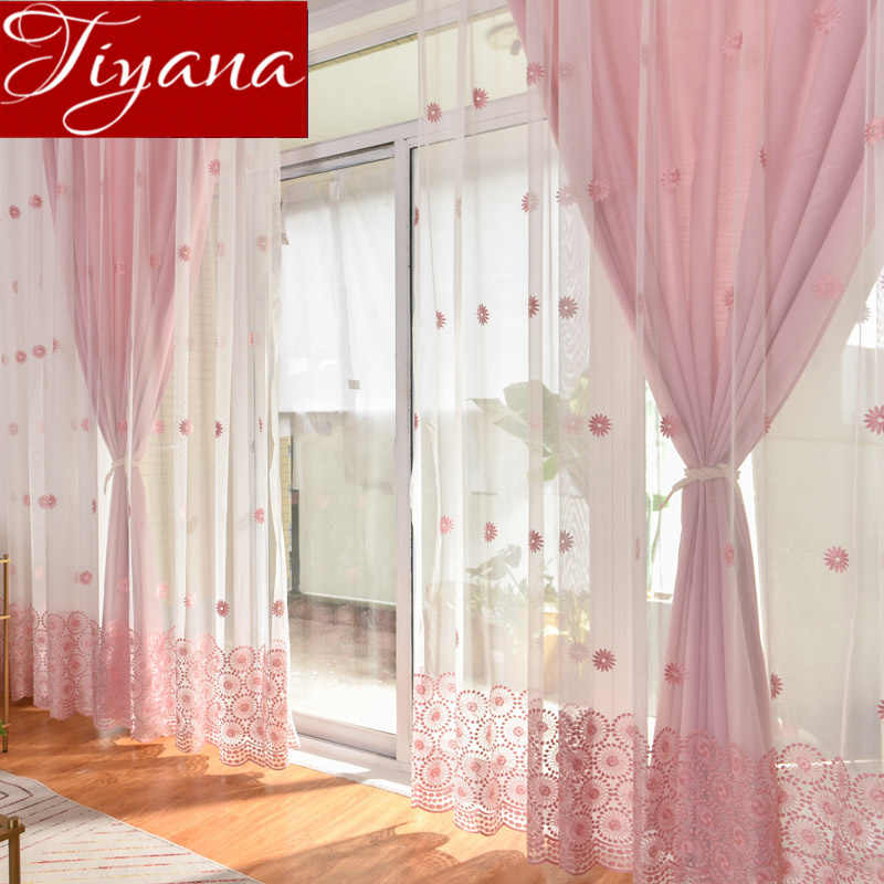 Sun Flower Curtain Pink Sheer Voile for Living Room Curtain for Window Bedroom Blue Drapes Tulle Curtain Custom Blinds T&069#30