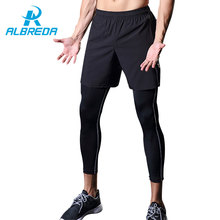 ALBREDA New Running 2 pieces of shorts and Long pants Men tight Fitness Leggings Men Quickly Drying Gym compression Stretch pant
