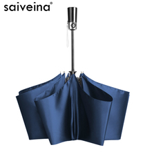 Saiveina Solid Color Outdoor Three-folding Auto Open & Close Umbrella for Men Women Travel Black/Blue/Purple