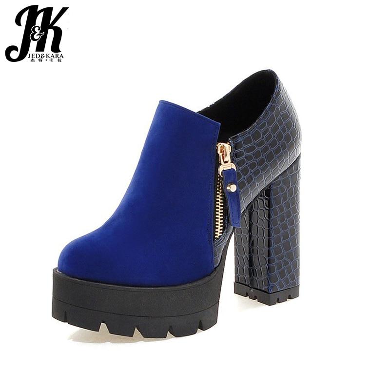 J&amp;K 2017 Big Size 32-43 Women Pumps Zipper High Heels Shoes Platform Pumps Thick Heel Patch Embossed PU Fashion Sexy Shoes  <br><br>Aliexpress