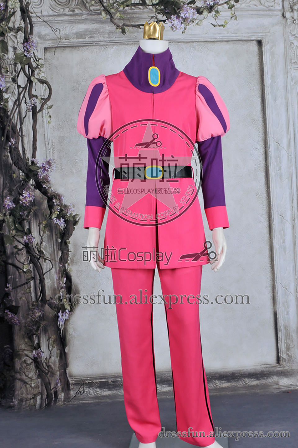 Adventure Time Cosplay Prince Gumball Costume New Full Set Pink Uniform Outfits: