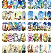 1 Sheet Nail Art Water Decal Building Style Sky Tower Image For Polish Gel Nail Decorations Full Tips Manicure A1213-1224(China)