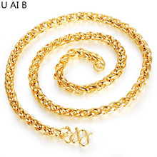 gold color necklace turnbuckle King necklace for men choker long necklace from india accessories(China)