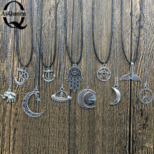 New fashion jewelry chain link om Elephant pendant ufo moon fish hands anchor star necklace mix design for women girl nice gift(China)
