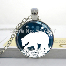 Christmas Gift necklace jewelry Polar Bear Necklace Christmas Jewelry Blue and White Snowflake Art Pendant Necklace HZ1