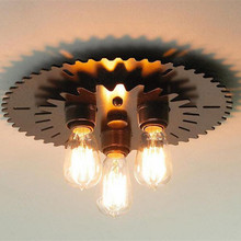 3 Heads American Country Vintage Loft Wrought Iron Wheel Gear Ceiling Light Coffee Shop Light Bar Decoration Lamp Free Shipping(China)