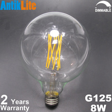 Amber Tinted/Coated Large Glass Globe G125/G40 Medium Edison Screw (ES) E26/E27 Base X-Shape Long LED Filament Bulb 8W/8/W/Watt