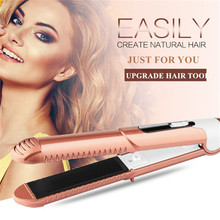 Two-in-one Hair Straightener Iron Tourmaline Ceramic Straightening Flat Board Curling Styling Tools Hair Curlers