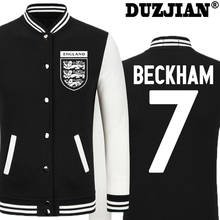 DUZJIN World Cup David Beckham thick velvet baseball uniform men's Jackets camiseta barcelonae 2016 barcelonae kids tracksuit(China)