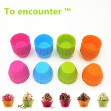 6.5*3CM 12PCS/Lot Round Shape 3D Cake Cup Silicone Muffin Cupcake Egg Tart Mold Baking Tools Cake Decorating Tools For Bakeware(China)