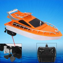 Hot Sale Orange Mini RC Boats Plastic Electric Remote Control Speed Boat Kid Chirdren Toy 26x7.5x9cm(China)