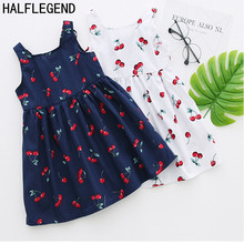 2017 New Summer Bohemian Girls Dress Printing Cherry Baby Girls Beach Dresses Kids Dress Cotton dresses girls clothes 5 6 7 Year