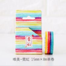 2J206 1.5cm Wide The Stripes Neon Decorative Washi Tape DIY Scrapbooking Masking Tape School Office Supply Escolar Papelaria(China)
