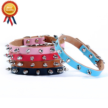 Classical Pet Genuine Leather Spiked Dog Collar Punk Studded Small Large Dog Cat Collar Bichon Chihuahua Pet Shop Supplies HP795
