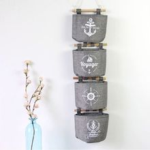 New Fashion Style Helpful Wall Hanging Storage Bag Grey Cotton Linen Sundries Organizer Hanger Bag