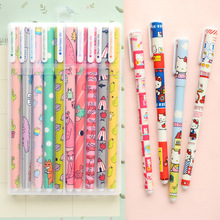10pcs Colour gel pens box pack Cute animal Star Hello Kitty Sweet Cartoon pen Stationery Office accessories school supplies