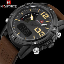 Men Sport Watches NAVIFORCE Brand Leather Quartz Watch LED Digital Watch Dual Display 30M Waterproof Wristwatches Reloj Hombre(China)