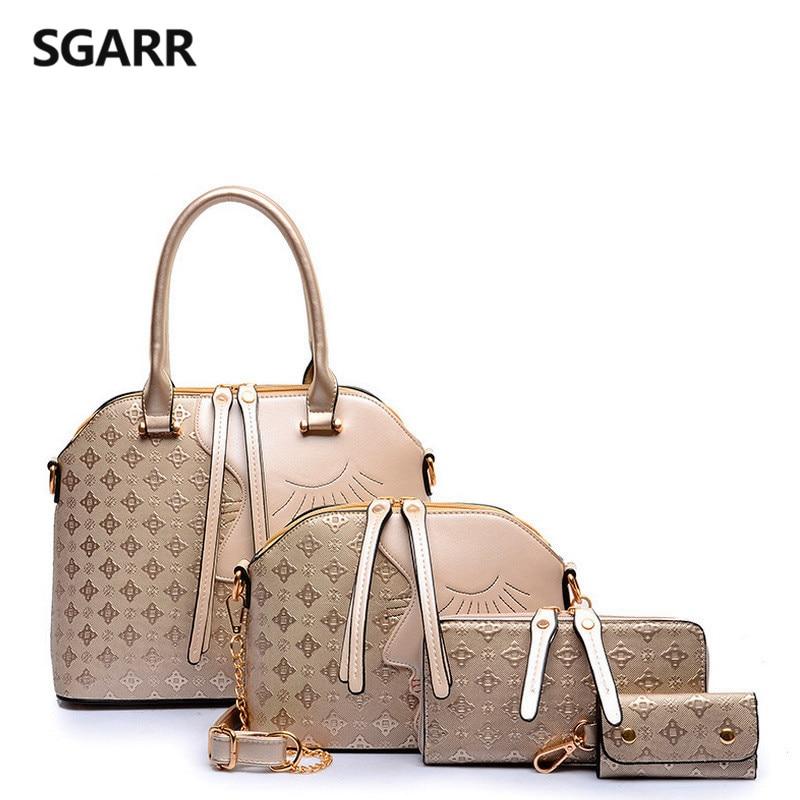 Fashion Gold Women Handbag Characters Zipper Female 4 Purse Set Shell Geometric Brown Europe United States Ladies Big Tote Bags<br>